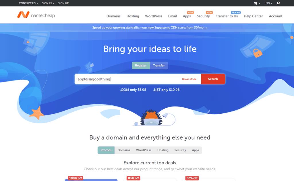 步驟1: 到Namecheap.com物色心宜Domain